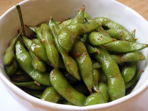 Wok-fried edamame