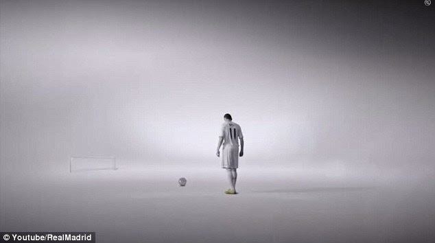 A familiar scene: Bale prepares to blast a free kick towards goal in the video