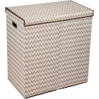 Household Essentials 5626 Collapsible Laundry Sorter with Lid Brown Chevron