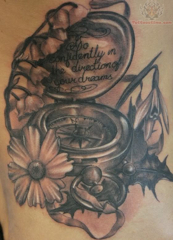 Compass And Flower Tattoo