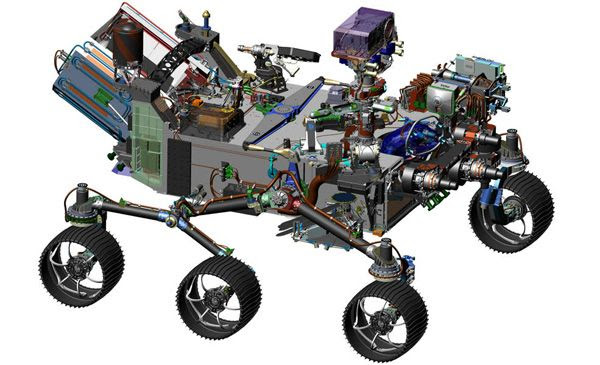 A computer-generated drawing of NASA's Mars 2020 rover.