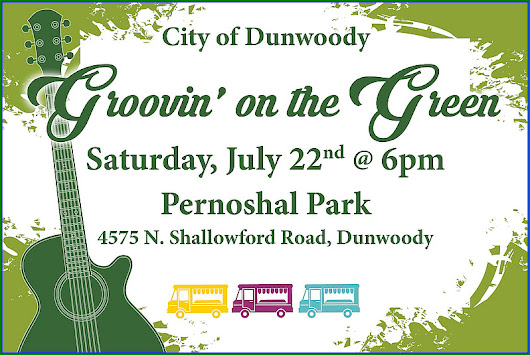 City of Dunwoody presents Groovin' on the Green, a FREE family-friendly concert Tonight at 6 PM on the lawn at Pernoshal Park