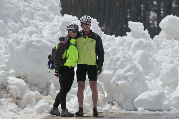 happy cyclists on ice