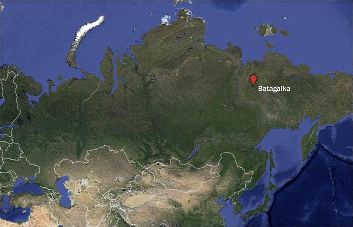 """Résultat de recherche d'images pour """"Le cratère de Batagaika"""""""