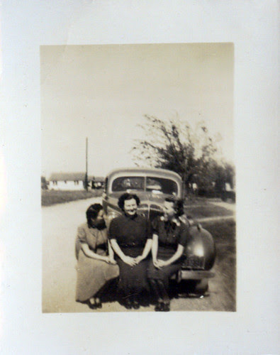 Three women and car