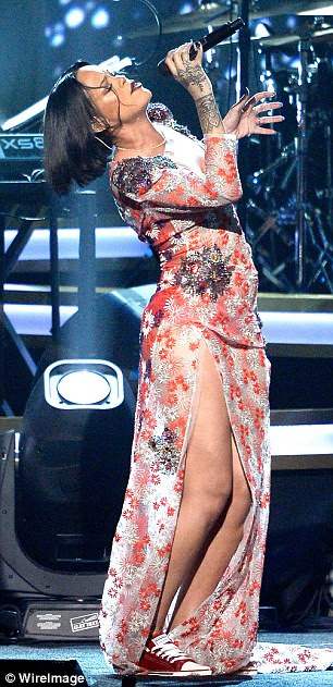 Doing what she does best: Rihanna put her vocal talents on show