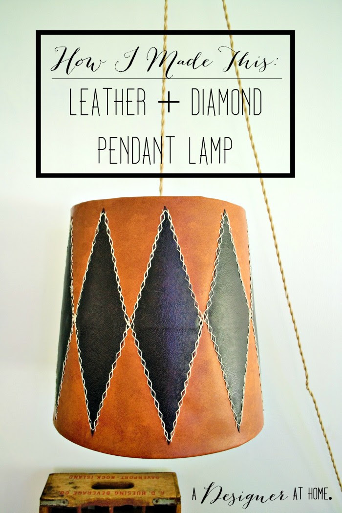 how to make a leather and diamond pendant lamp - good for a man cave!
