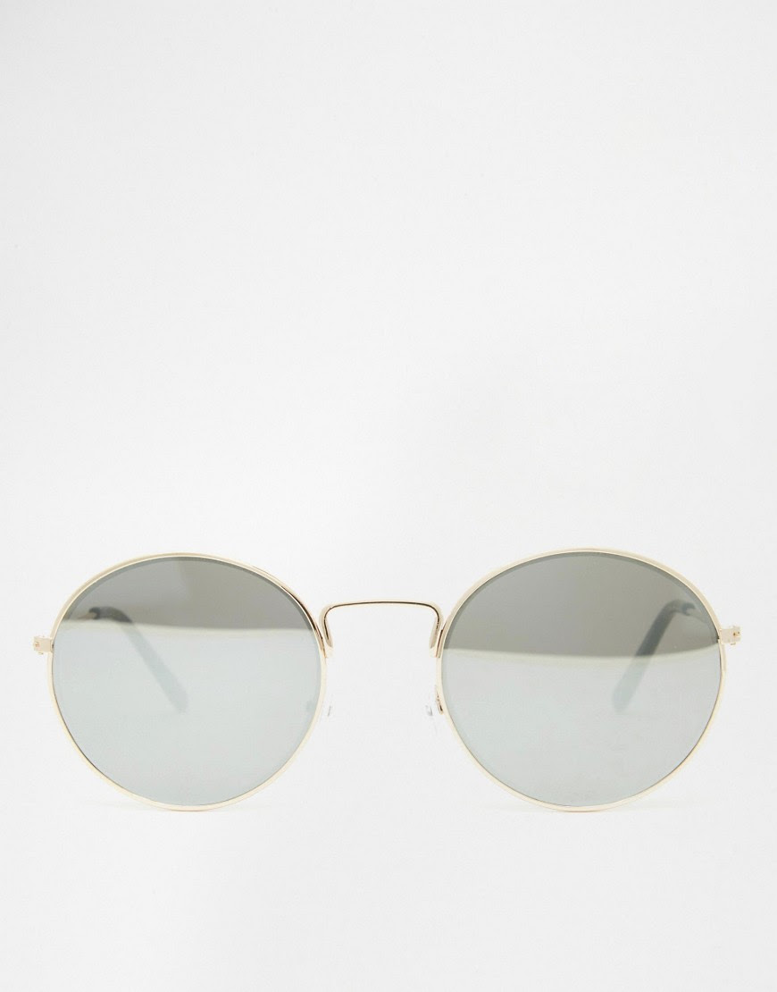 Image 4 ofASOS Round Metal Sunglasses With Fine Frame With Flat Lens