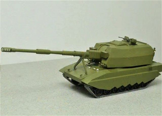 """Durante una conferencia de prensa en Moscú con el Ministerio de Defensa, la industria de defensa de Rusia presenta una nueva tecnología de las armas en el campo de la artillería. Uno de los nuevos sistemas de artillería fue el 2S35 """"Coalición SV"""", una versión modernizada del 2S19 MSTA-S."""