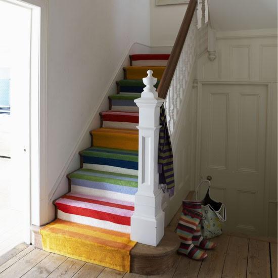 Modern hallway with stripy stairs   Hallway ideas   Hallway
