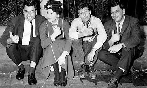 (from left) Richard Sherman, Julie Andrews, Dick Van Dyke, Robert Sherman