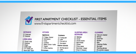 First Apartment Checklist - A Printable PDF Checklist