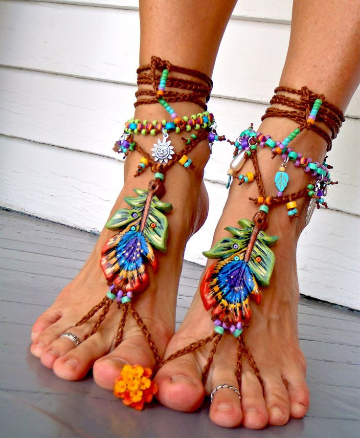 Made to order PEACOCK Feather BAREFOOT sandals Toe Ankle by GPyoga, $99.00