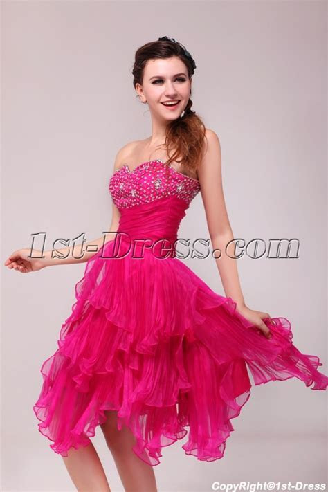 Pretty Hot Pink Knee Length Junior Club Party Dress:1st