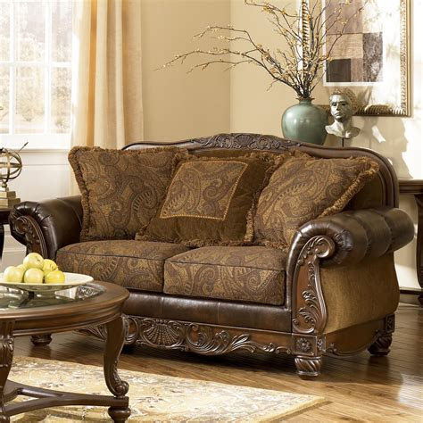 fresco durablend antique traditional stationary loveseat