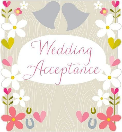 Flowers & Horseshoes Wedding Acceptance Card   Karenza Paperie