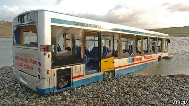 The bus became engulfed with flood water at Newgale in Pembrokeshire