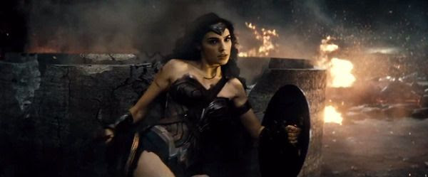 Wonder Woman in the midst of combat in this scene from the BATMAN V SUPERMAN: DAWN OF JUSTICE Comic-Con trailer.