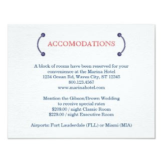 Nautical Knot Wedding Accommodations Card