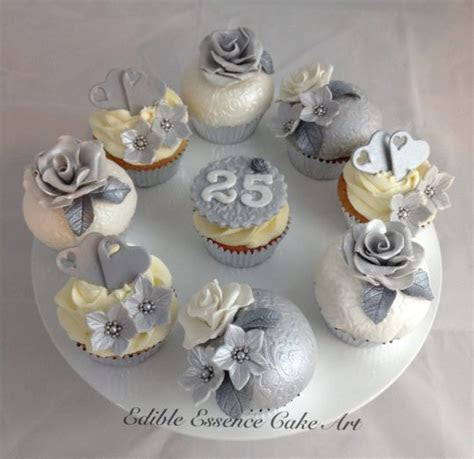 Silver wedding anniversary cupcakes   Vintage Cup Cakes