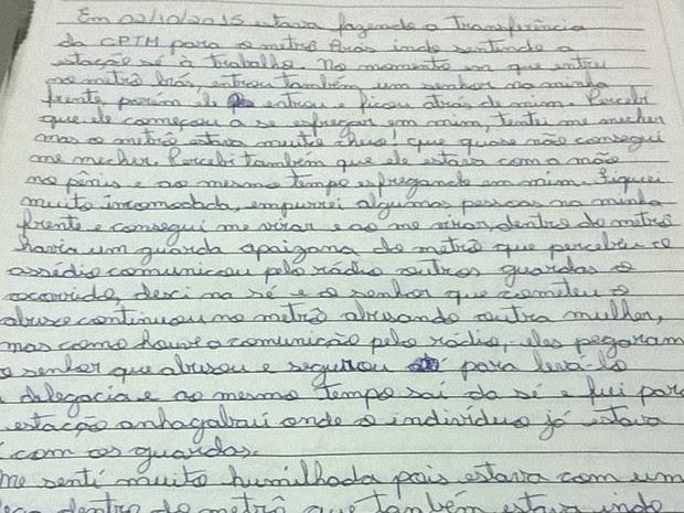 Carta enviada pela vítima aos advogados  (Foto: Reprodução/ Arquivo pessoal )