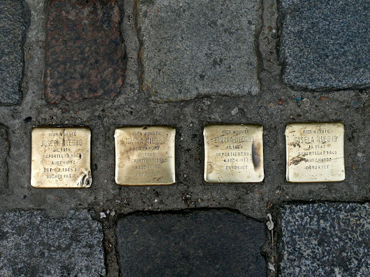 Brass cobbles in memory of deported Jewish family, Berlin