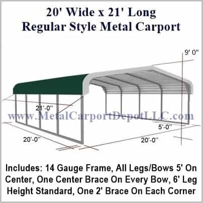 20 X 21 Regular Style Metal Carport 162000 Free Installation