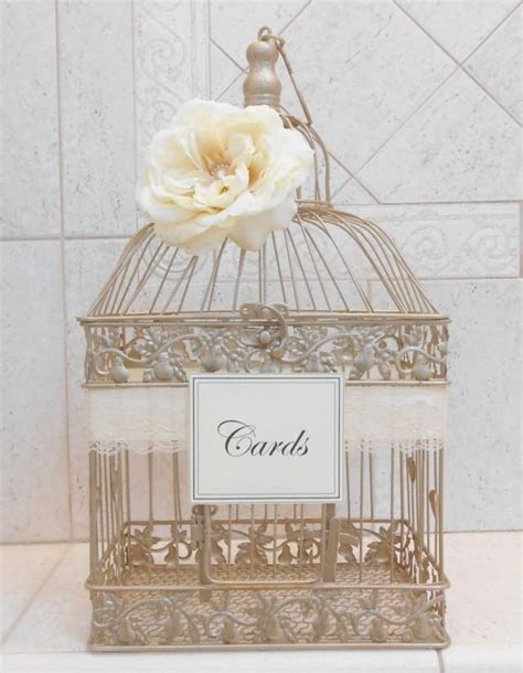 Large Champagne Gold Wedding Birdcage Card Holder