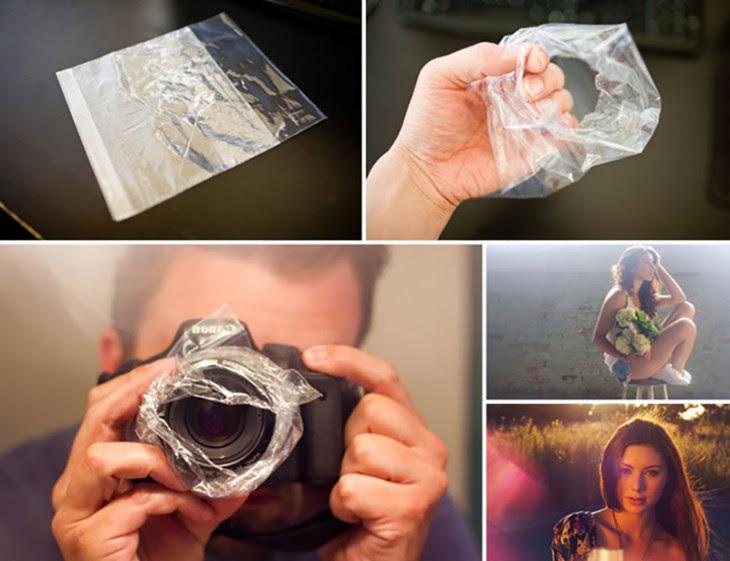 Proceso para colocar una bolsa de sandwich en tu lente y crear un efecto hazy
