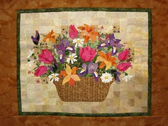 applique basket of flowers watercolor background