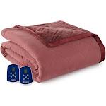 Micro Flannel Reverse to Ultra Velvet Electric Heated Comforter/Blanket - Merlot - Queen