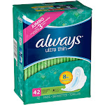 Always Ultra Thin Feminine Pads for Women, Size 2, Super Absorbency, with Flexi-Wings, Unscented, 42 Count