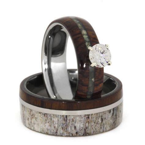 Unique Wedding Ring Set, Antler Wedding Band Wood