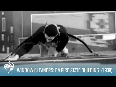 video que muestra a los limpiaventanas del empire state building