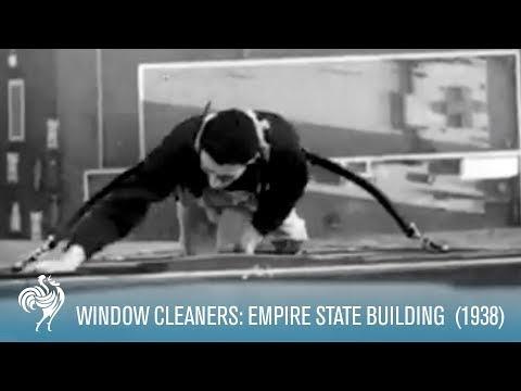 video que muestra a los limpiaventanas del empire state building