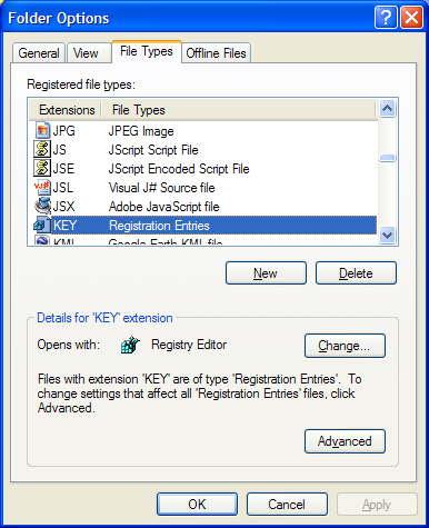 File Type dialog