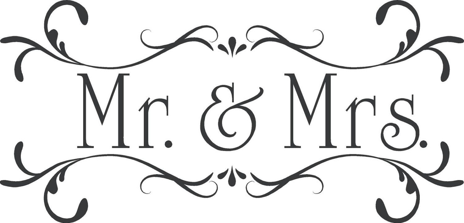 Wedding Mr& MrsCustom Wall Decor Words Vinyl by astickyplace