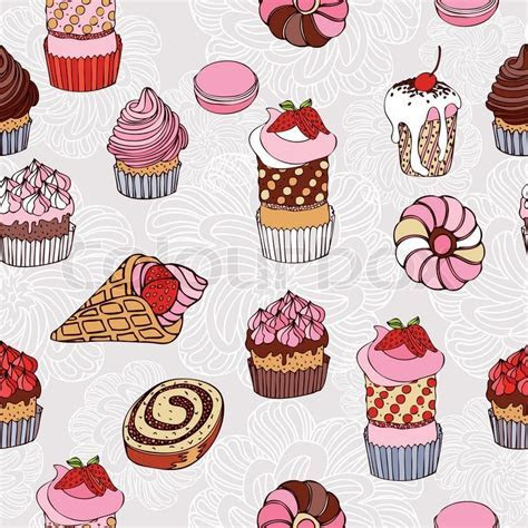 Abstract background, cakes seamless pattern, vintage
