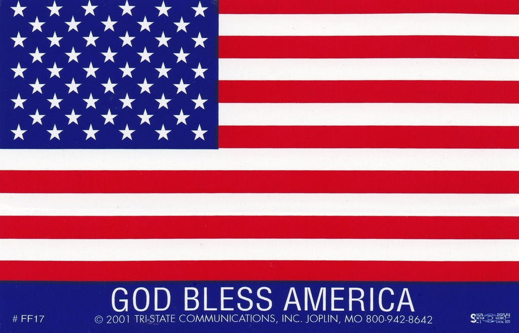God Bless America Large American Flag Sticker Ff 17 Hard Hat Gear
