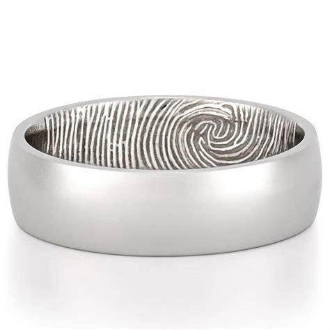 Fingerprint Wedding Band   Men's Fingerprint on Inside of