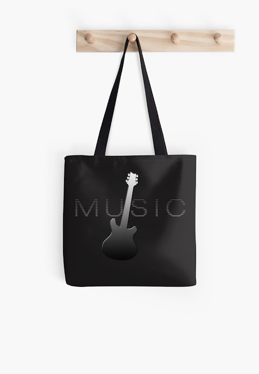 """Music Guitar Player Gift for Musicians"" Tote Bags by simplyoj 