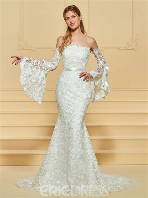 Ericdress Strapless Backless Mermaid Lace Wedding Dress