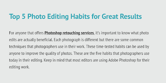 Top 5 Photo Editing Habits for Great Results by Digi5 Studios - Infogram
