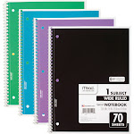 Mead Spiral 1 Subject Wide Ruled Notebook 4 Pack, Assorted Colors (72873), Size: 10 1/2 inch x 8 inch, Multi-color