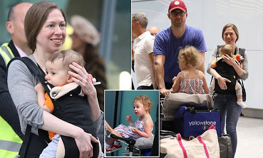 Chelsea Clinton and baby Aidan in London on family vacation