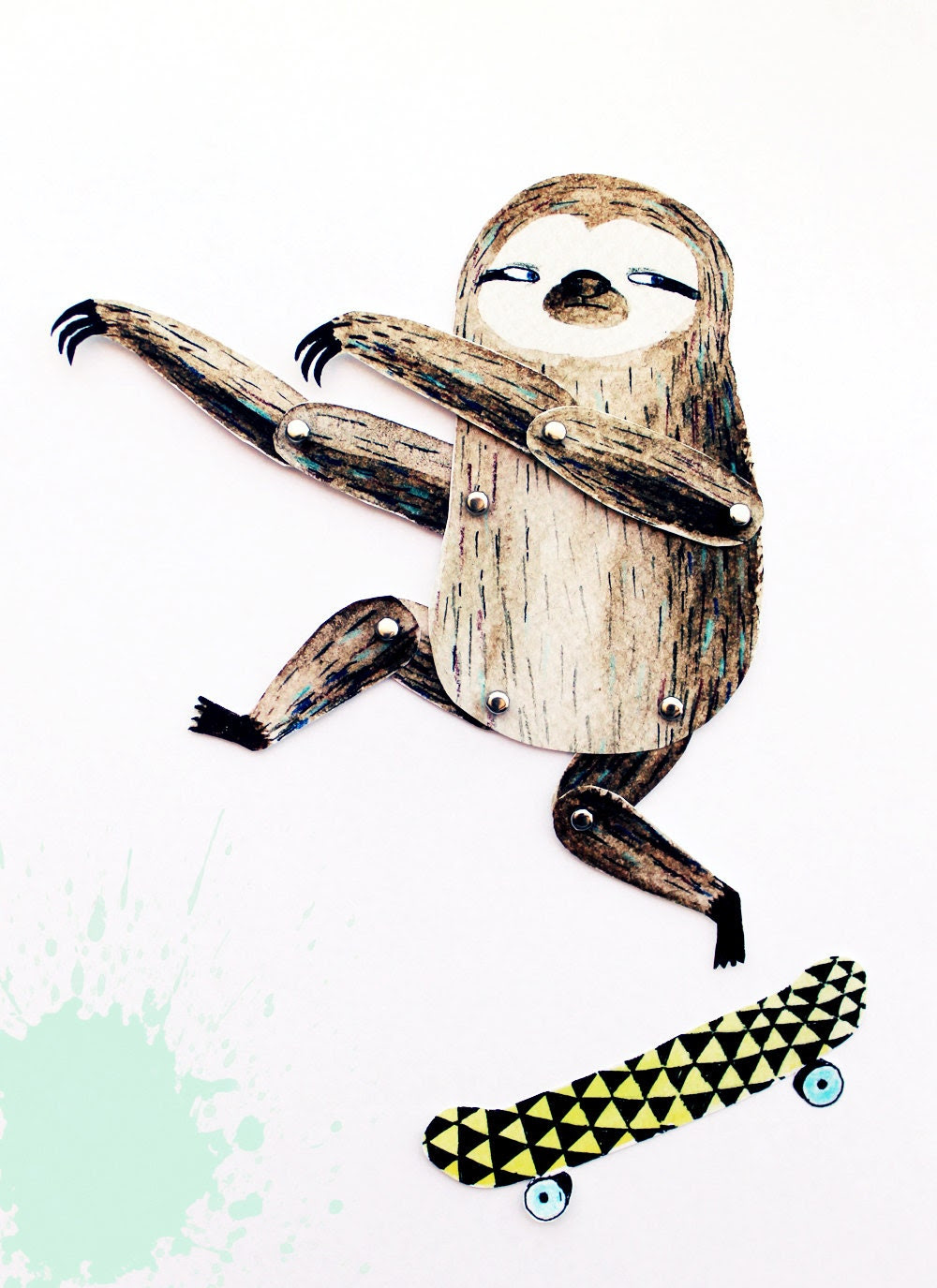 Articulated paper doll - Surfing skating sloth - DIY print set - lukaluka