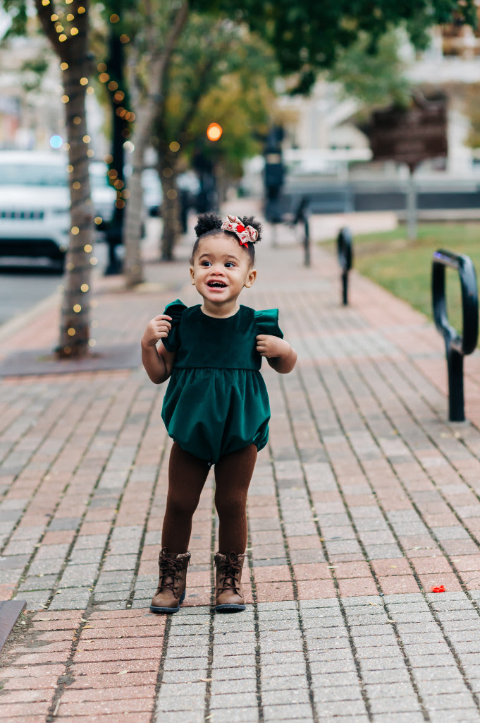 Little girls green velvet bubble romper - blog.cuteheads.com