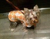 Dog Jacket -  Orange Sorbet Argyle Fleece Dog Coat- Size XX Small- 8 to 10 Inch Back Length - Or Custom Size