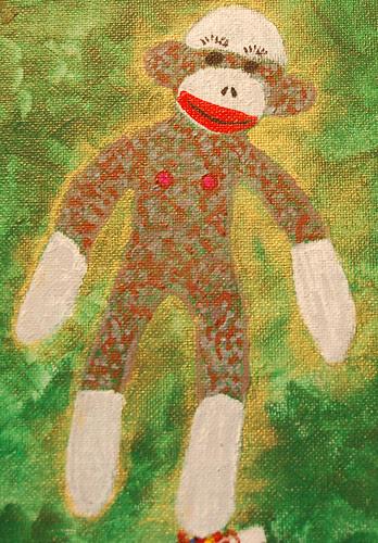 """Sock monkey detail from """"Side Effects"""""""