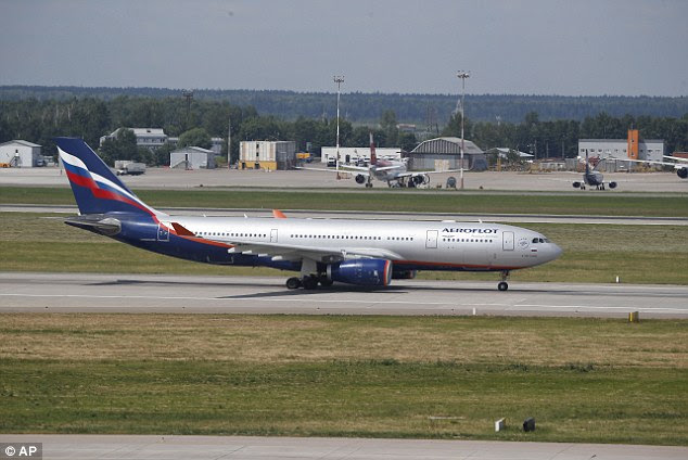 Not Aboard: The Aeroflot Airbus A330 plane that was to carry National Security Agency leaker Edward Snowden on a flight to Havana, Cuba, taxies out at Sheremetyevo airport, Moscow, Monday, June 24, 2013